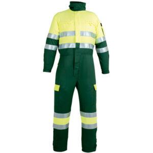 Ropa de protección, buzo multibolsillos verde y amarillo para calor, llama y baja visibilidad