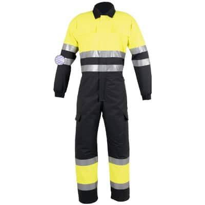 Buzo multibolsillos amarillo y negro en ropa de protección contra riesgos electroestáticos