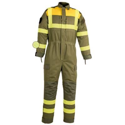 Para protección de calor, llama y bombero forestal buzo multibolsillos con refuerzo cerámico en ropa de trabajo