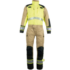 Yellow reinforced diver for technical rescue in work clothes