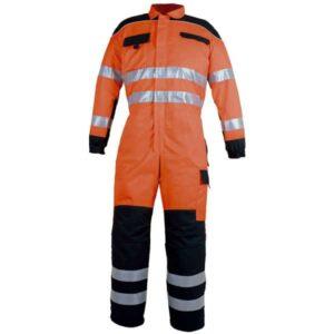 Buzo multibolsillos cerrado naranja y negro en ropa de protección de alta visibilidad