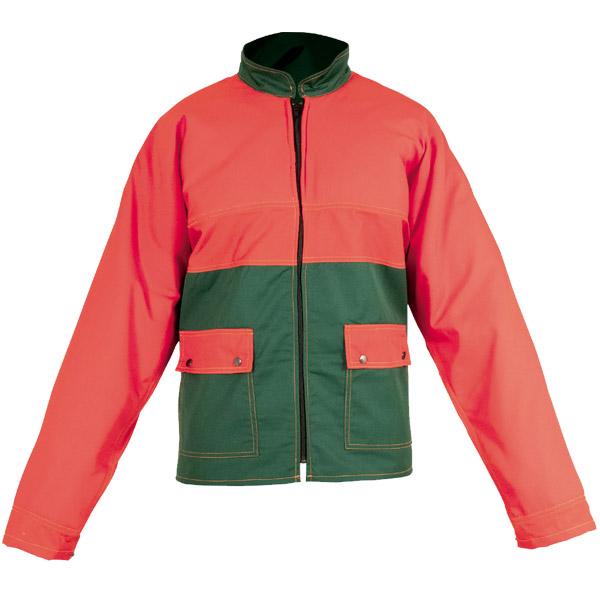 Chaqueta roja en ropa de protección contra motosierras