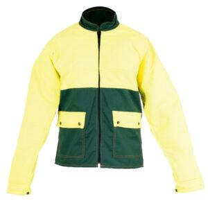 Chaqueta amarilla en ropa de protección contra motosierras