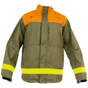 Chaqueta con cremallera y broches en ropa de protección para calor y llama y bombero forestal