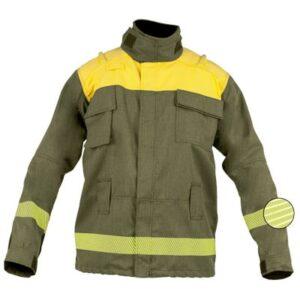 Chaqueta cerrada de velcro de ropa de protección para bombero forestal