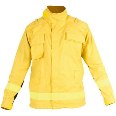 Chaqueta cerrada con velcro amarillo para ropa de protección de bombero forestal