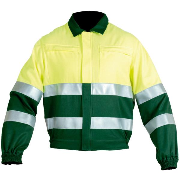Cazadora cerrada con cremallera y broches en ropa de protección para calor y llama y baja visibilidad
