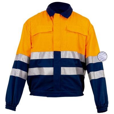 Cazadora naranja en ropa de protección contra riesgos electroestáticos