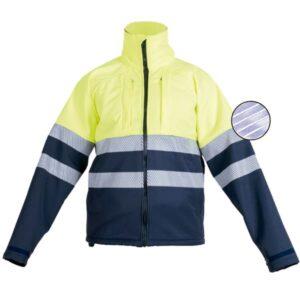 Softshell cerrado con cremallera en ropa de protección para baja visibilidad