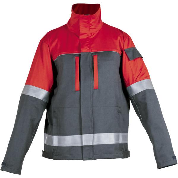 Chaqueta multibolsillos cerrada en ropa de protección para calor y llama y arco electrico