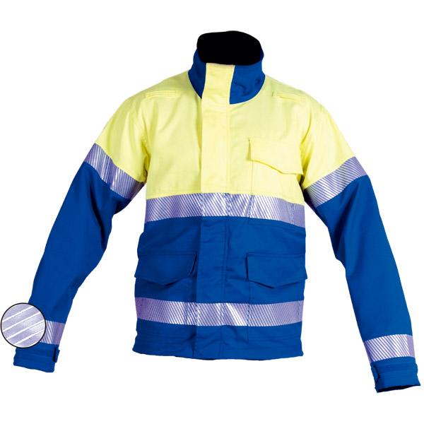 Chaqueta con cremaller azul en ropa de protección para calor y llama y arco eléctrico