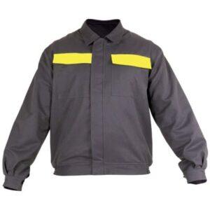Cazadora cerrada con velcro ajustable en ropa de protección contra riesgos electrostáticos