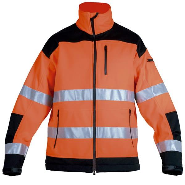 Softshell multibolsillos naranja en ropa de protección con alta visibilidad