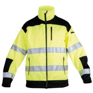 Softshell multibolsillos amarillo en ropa de protección con alta visibilidad