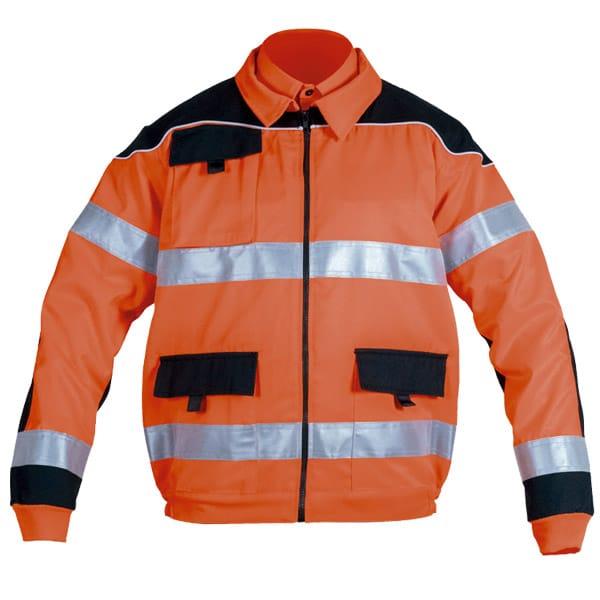 Cazadora cerrada con cremallera en ropa de protección con alta visibilidad
