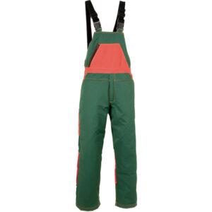 Pantalón verde y naranja tipo peto en ropa de trabajo