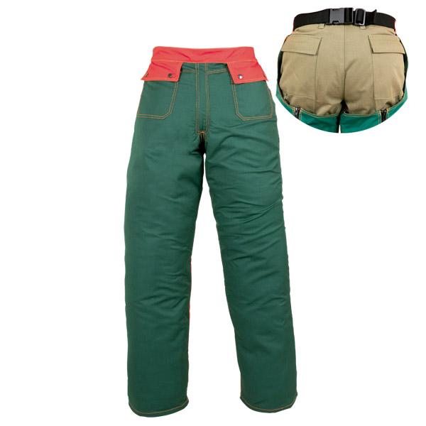 Perneras verdes de zahón con cinturón elástico en ropa de protección