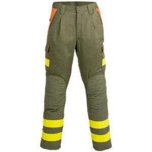 Pantalon multibolsillos cerrado con cremallera y broche en ropa de proteccion para calor y llama y bombero forestal