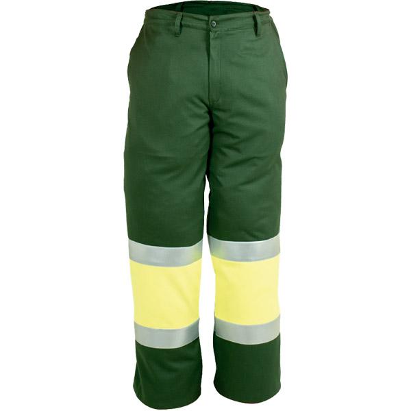 Pantalon cerrado perneras reflectantes en ropa de protección para calor, llama y baja visibilidad