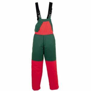 Pantalón verde y rojo tipo peto en ropa de protección