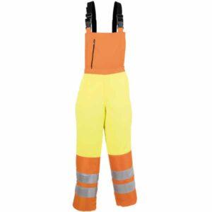 Pantalón naranja y amarillo tipo peto con tirantes en ropa de trabajo