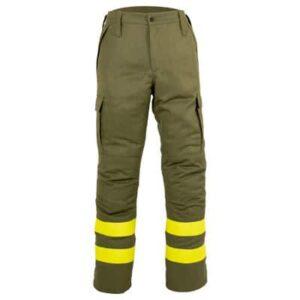 Pantalón cerrado verde con cremallera en ropa de protección