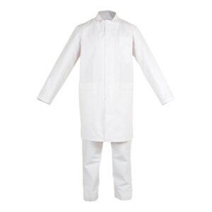 Conjunto blanco con cremallera y boton en ropa de proteccion química