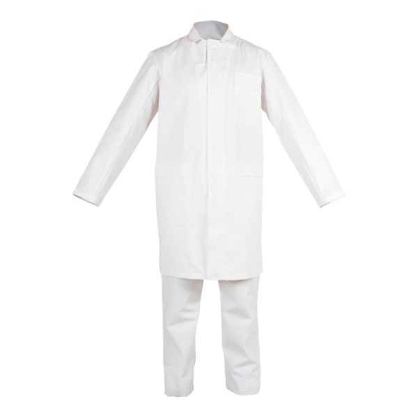 White set with zipper and button in chemical protective clothing
