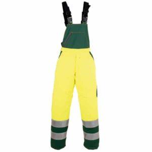 Pantalón amarillo y verde tipo peto en ropa de protección