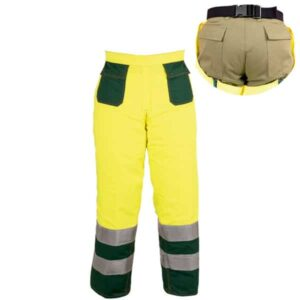 Perneras amarillas tipo azahón en ropa de trabajo