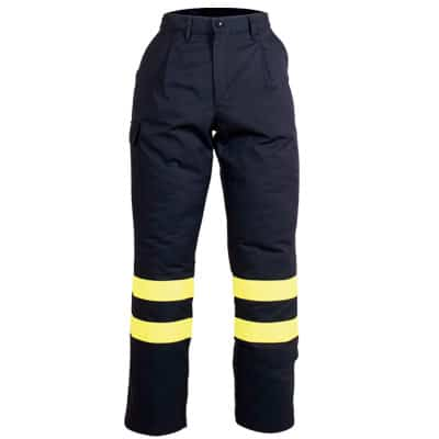 Pantalón negro reflectante en ropa de protección contra riesgos electrostáticos