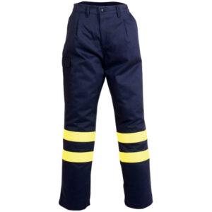 Pantalón con cremallera y boton reflectante para calor, llama y soldadura