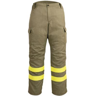 Pantalón multibolsillos con cremallera y boton marron en ropa de protección