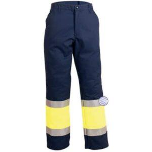 Pantalón azul reflectante con cremallera y botón en ropa de protección contra riesgos electrostáticos