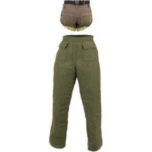 Perneras marrones tipo zahón con citurón elástico en ropa de protección para calor y llama y bombero forestal