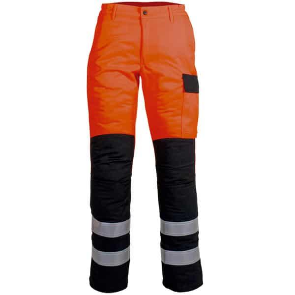 Pantalon naranja cerrado con cremallera y boton en ropa de proteccion de alta visibilidad
