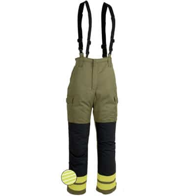 Pantalon tipo peto cerrado en ropa de protección