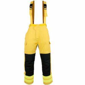 Cubrepantalon tipo peto cerrado con cremallera y velcro en ropa de proteccion para calor y llama y bombero forestal