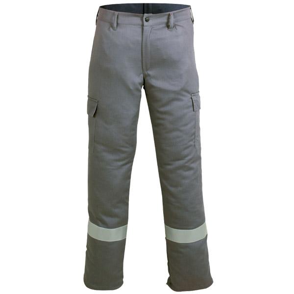 Pantalon cerrado oscuro con perneras retroreflectantes en ropa de protección para calor y llama y arco eléctrico