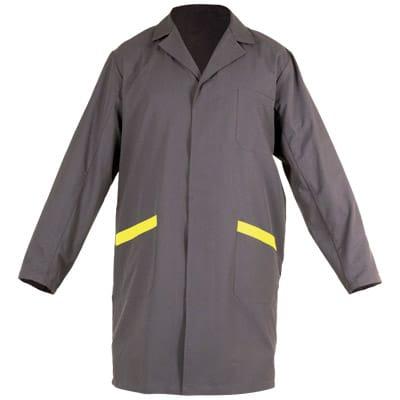 Ropa de protección, bata cerrada gris y amarilla para protección contra riesgos electrostáticos