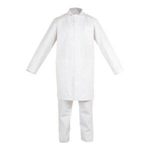 Bata blanca cerrada con broches en ropa de proteccion quimica