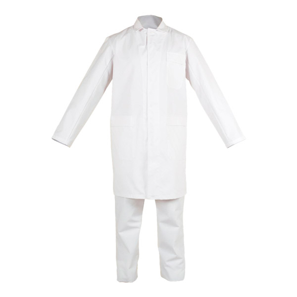 White coat closed with snaps in chemical protective clothing