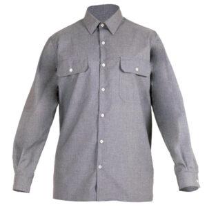 Camisa cerrada con botones gris en ropa de trabajo