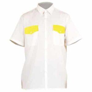 Camisa cerrada amarilla y blanca en ropa de protección contra riesgo electrostáticos