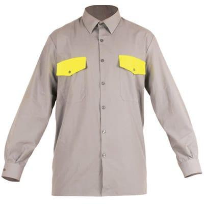 Camisa cerrada gris y amarilla en ropa de protección contra riesgos electroestáticos