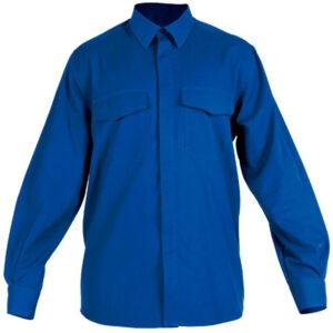 Ropa de protección en camisa cerrada con botones azules