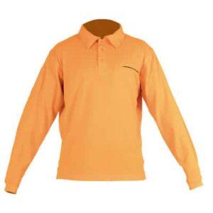 Polo de manga larga naranja con botones en ropa de protección