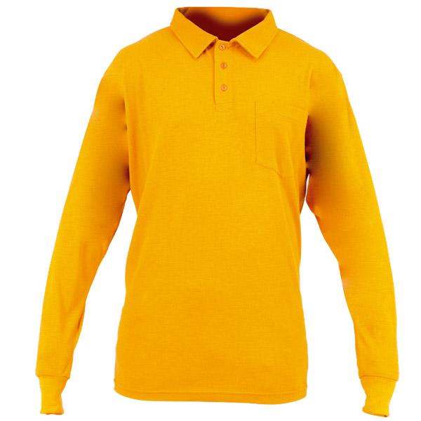 Polo naranja con puños elásticos en ropa de protección