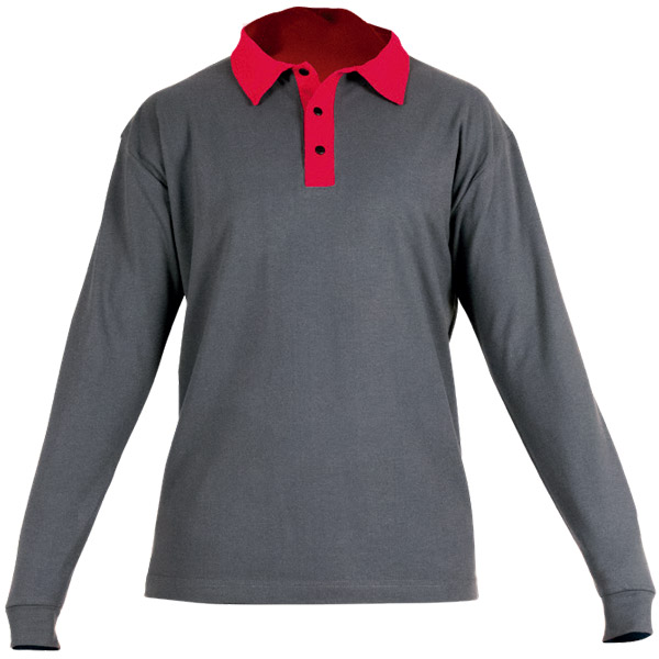 Polo manga larga gris y rojo en ropa de protección calor y llama y arco eléctrico