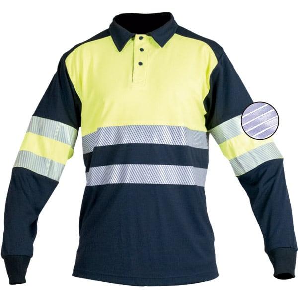 Polo de manga larga reflectante discontinuo en ropa de protección de alta visibilidad